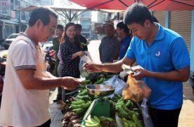 Thanh niên Đồng Nai bán chuối cho khách hàng. Ảnh: T.N.