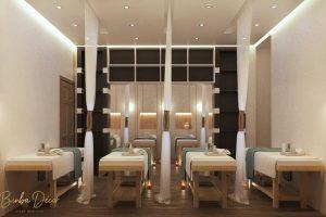 Thiết kế thì không gian của spa cần đảm bảo tối ưu cho các hoạt động chăm sóc và nghỉ ngơi.