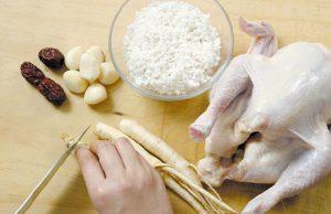 Nguyên liệu làm gà tần sâm Hàn Quốc